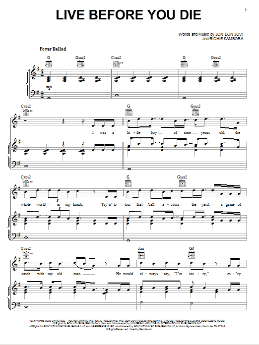 Live Before You Die Sheet Music