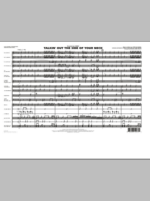 Talkin' Out The Side Of Your Neck (COMPLETE) sheet music for marching band by Charles Singleton, Cameo and Raymond James Rolle II. Score Image Preview.