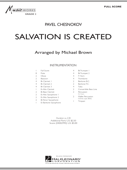 Salvation Is Created (COMPLETE) sheet music for concert band by Pavel Chesnokov and Michael Brown. Score Image Preview.