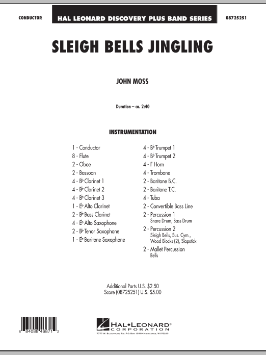Sleigh Bells Jingling (COMPLETE) sheet music for concert band by John Moss. Score Image Preview.