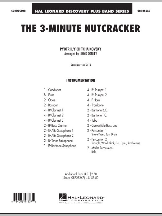 The 3-Minute Nutcracker (COMPLETE) sheet music for concert band by Pyotr Ilyich Tchaikovsky and Lloyd Conley. Score Image Preview.