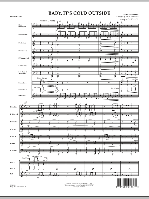 Baby, It's Cold Outside - Conductor Score (Full Score) (Concert Band)