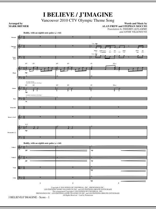 I Believe / J'Imagine (COMPLETE) sheet music for orchestra/band (Orchestra) by Mark Brymer, Alan Frew, Stephan Moccio and Thierry Leflamme. Score Image Preview.