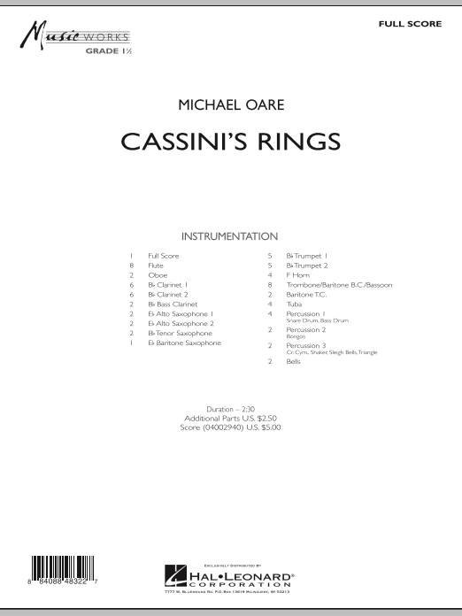 Cassini's Rings (COMPLETE) sheet music for concert band by Michael Oare. Score Image Preview.