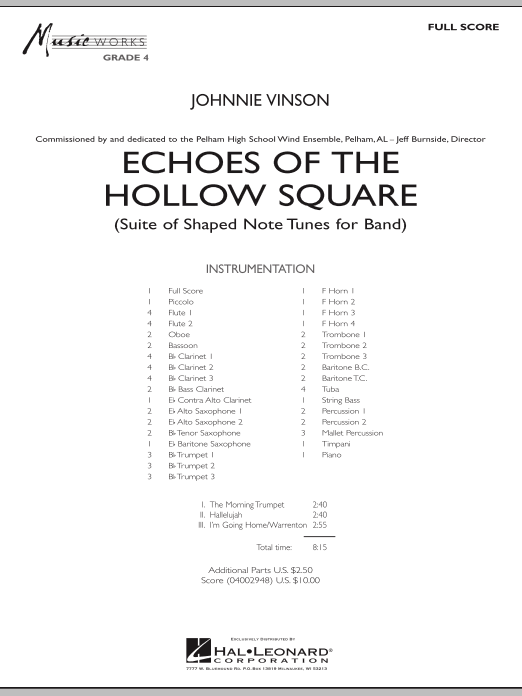 Echoes Of The Hollow Square (COMPLETE) sheet music for concert band by Johnnie Vinson. Score Image Preview.