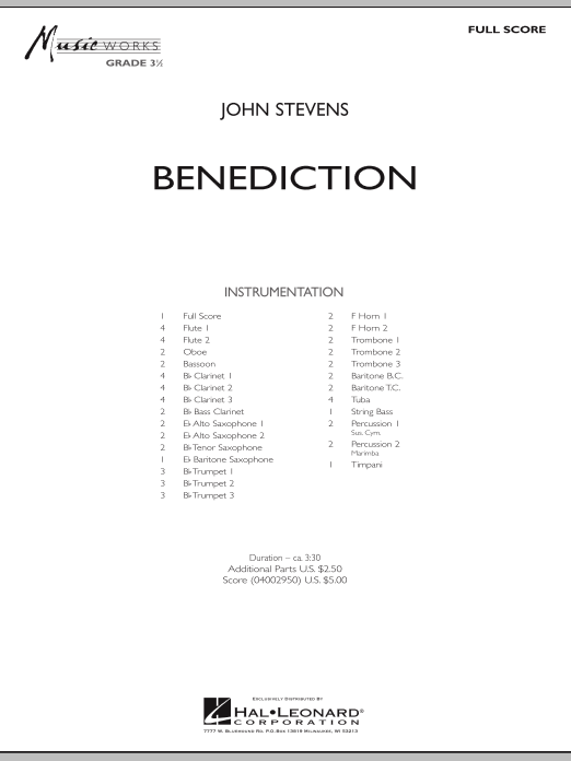 Benediction (COMPLETE) sheet music for concert band by John Stevens. Score Image Preview.