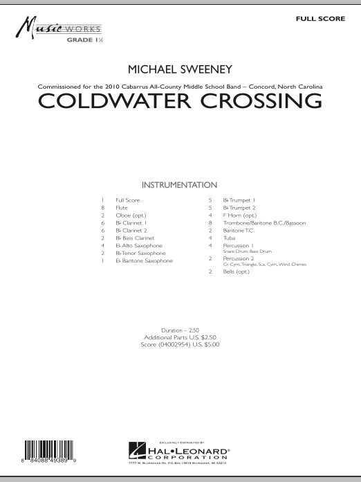 Coldwater Crossing (COMPLETE) sheet music for concert band by Michael Sweeney. Score Image Preview.