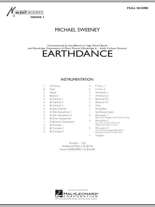 Earthdance (COMPLETE) sheet music for concert band by Michael Sweeney. Score Image Preview.