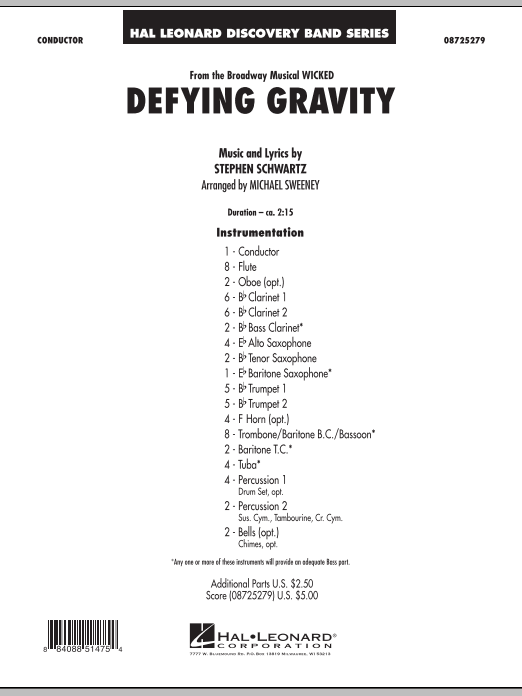 Defying Gravity (from Wicked) (COMPLETE) sheet music for concert band by Michael Sweeney and Stephen Schwartz. Score Image Preview.