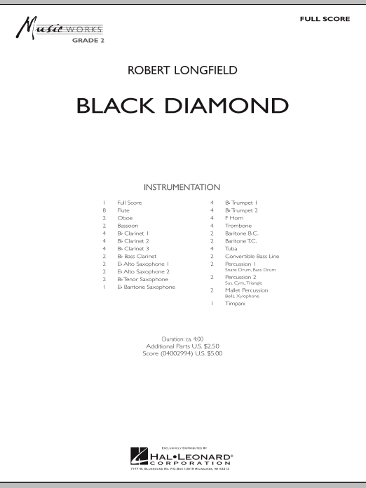 Black Diamond (COMPLETE) sheet music for concert band by Robert Longfield. Score Image Preview.