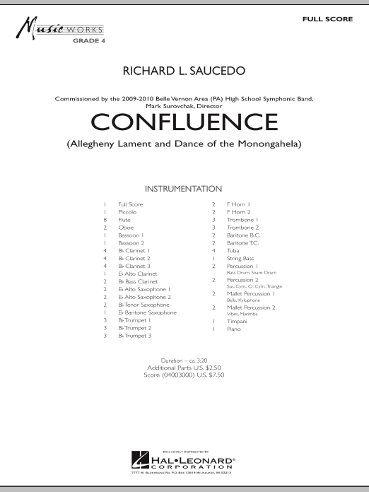 Confluence (COMPLETE) sheet music for concert band by Richard L. Saucedo. Score Image Preview.