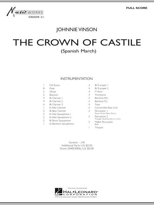 The Crown Of Castile (COMPLETE) sheet music for concert band by Johnnie Vinson. Score Image Preview.
