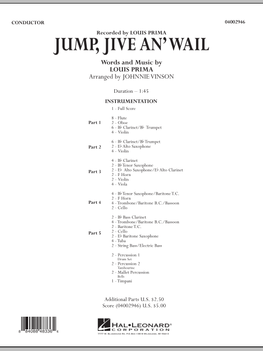 Jump, Jive An' Wail (COMPLETE) sheet music for concert band by Johnnie Vinson, Brian Setzer and Louis Prima. Score Image Preview.