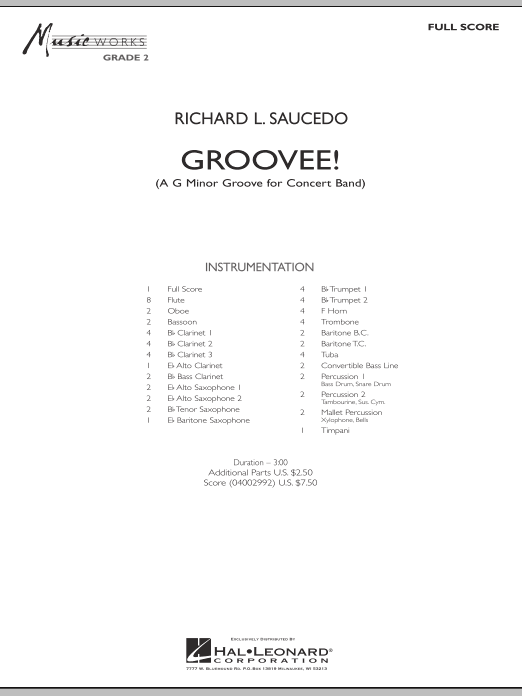 Groovee! (COMPLETE) sheet music for concert band by Richard L. Saucedo. Score Image Preview.