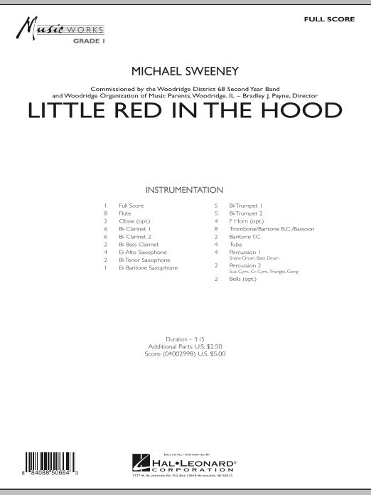 Little Red In The Hood (COMPLETE) sheet music for concert band by Michael Sweeney. Score Image Preview.