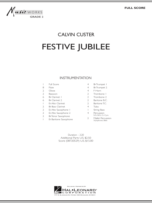 Festive Jubilee (COMPLETE) sheet music for concert band by Calvin Custer. Score Image Preview.