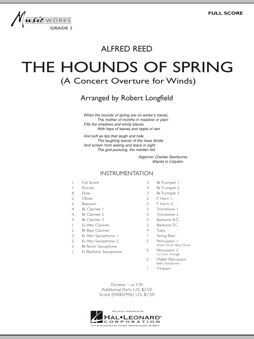 The Hounds Of Spring - Full Score (Concert Band)