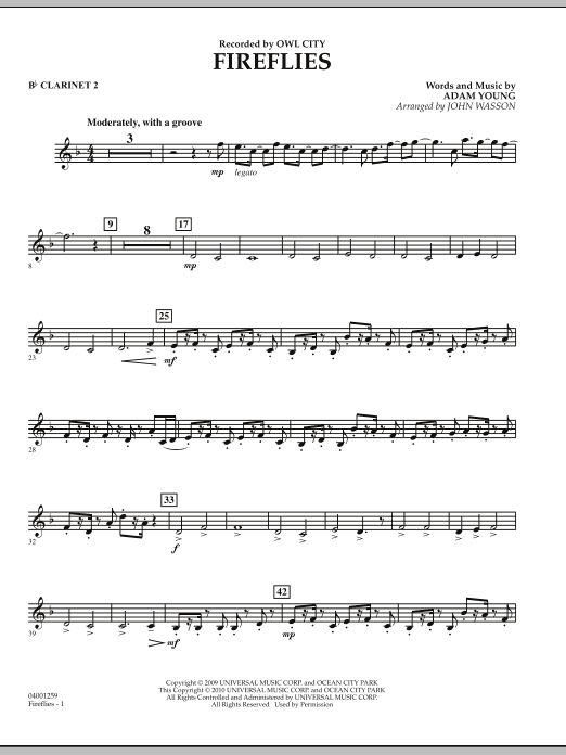 Fireflies - Bb Clarinet 2 (Concert Band)