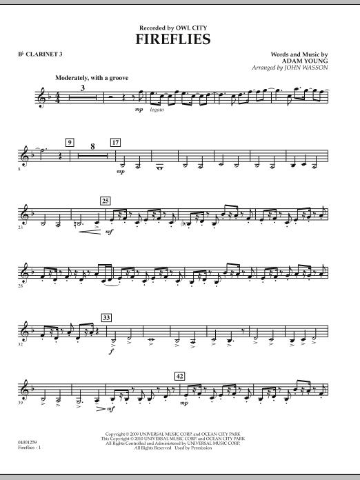 Fireflies - Bb Clarinet 3 (Concert Band)
