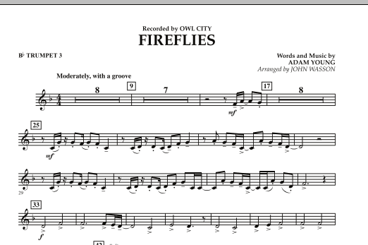 Fireflies Eb Alto Saxophone 2 By Adam Young John Wasson Owl City