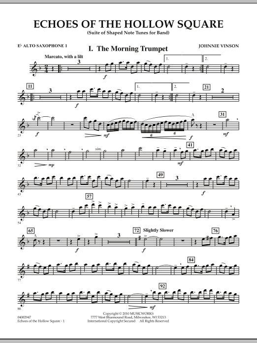 Echoes Of The Hollow Square - Eb Alto Saxophone 1 (Concert Band)