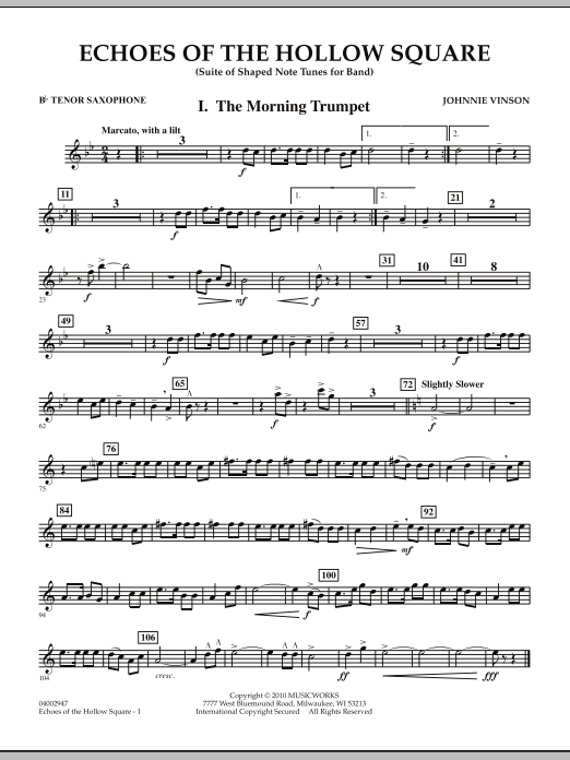 Echoes Of The Hollow Square - Bb Tenor Saxophone (Concert Band)