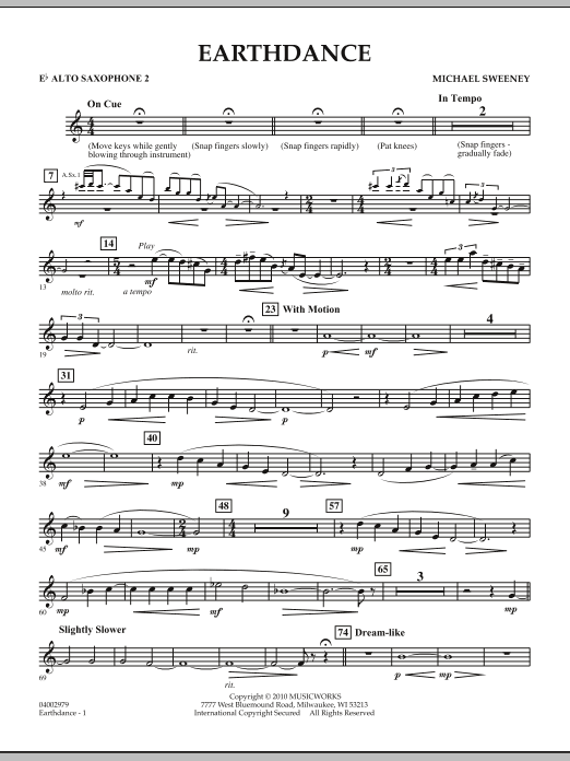 Earthdance - Eb Alto Saxophone 2 (Concert Band)