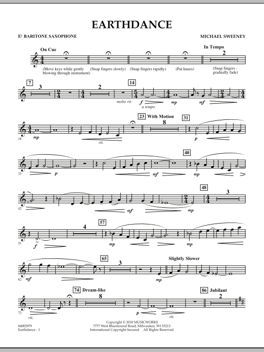 Earthdance - Eb Baritone Saxophone (Concert Band)