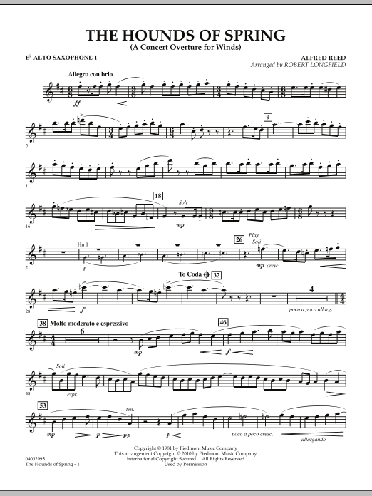 The Hounds Of Spring - Eb Alto Saxophone 1 (Concert Band)