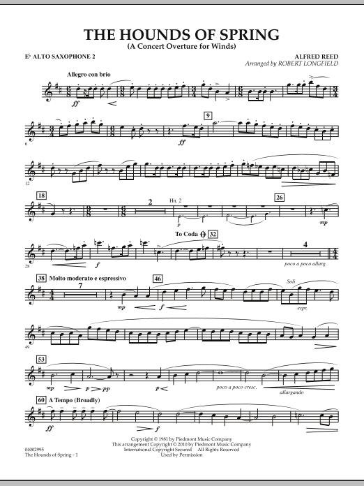 The Hounds Of Spring - Eb Alto Saxophone 2 (Concert Band)