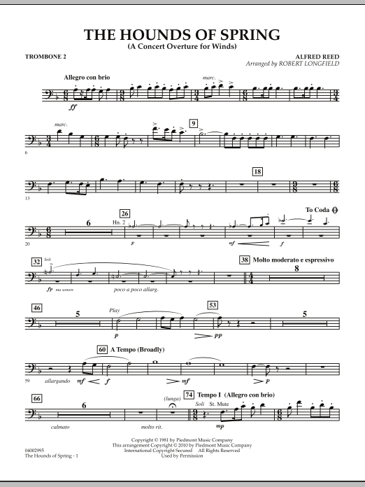 The Hounds Of Spring - Trombone 2 (Concert Band)