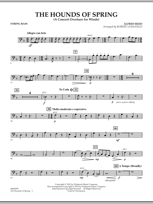 The Hounds Of Spring - String Bass (Concert Band)