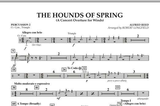 The Hounds Of Spring - Percussion 2 (Concert Band)