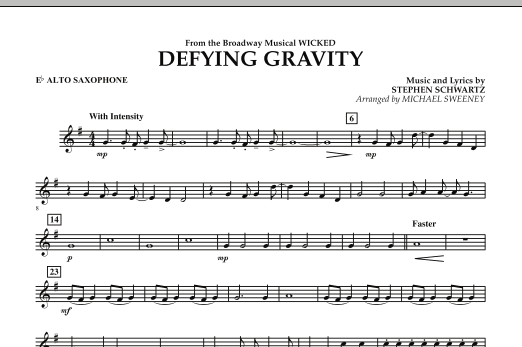 Defying Gravity (from Wicked) - Eb Alto Saxophone (Concert Band)