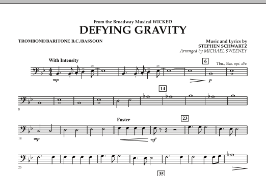 Defying Gravity (from Wicked) - Trombone/Baritone B.C./Bassoon (Concert Band)