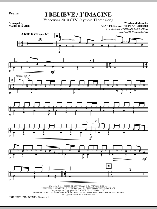I Believe / J'Imagine - Drums Sheet Music