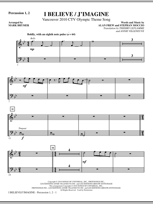 I Believe / J'Imagine - Percussion 1 & 2 (Choir Instrumental Pak)
