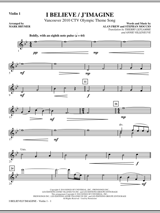 I Believe / J'Imagine - Violin 1 Sheet Music