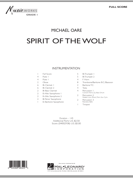 Spirit Of The Wolf (COMPLETE) sheet music for concert band by Michael Oare. Score Image Preview.