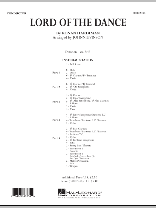 The Lord Of The Dance (COMPLETE) sheet music for concert band by Johnnie Vinson and Ronan Hardiman. Score Image Preview.