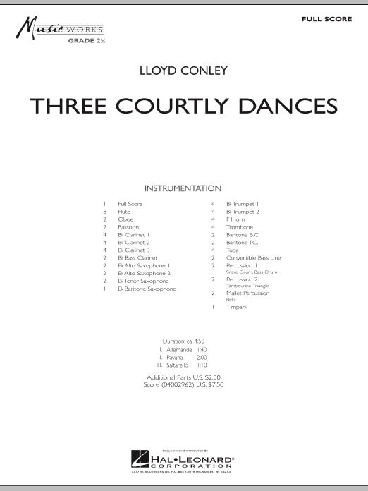 Three Courtly Dances (COMPLETE) sheet music for concert band by Lloyd Conley. Score Image Preview.