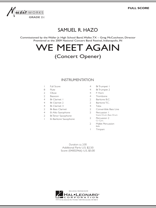 We Meet Again (COMPLETE) sheet music for concert band by Samuel R. Hazo. Score Image Preview.