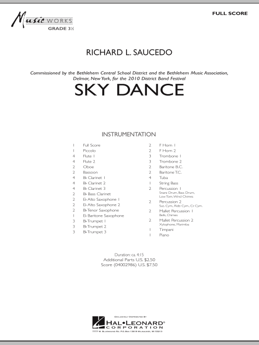 Sky Dance (COMPLETE) sheet music for concert band by Richard L. Saucedo. Score Image Preview.