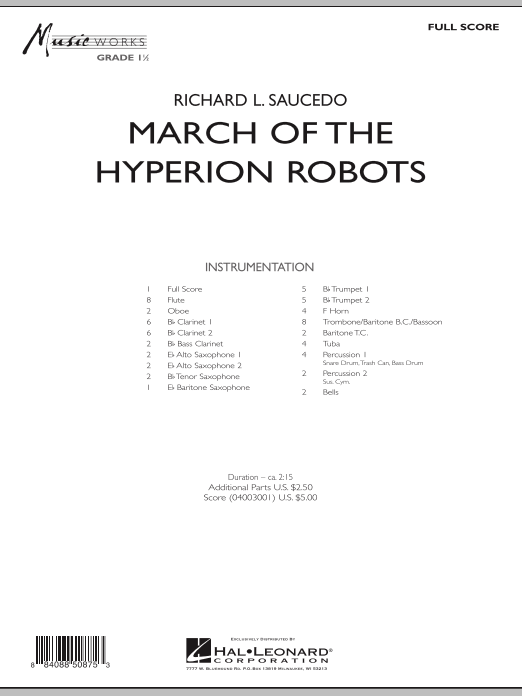 March Of The Hyperion Robots (COMPLETE) sheet music for concert band by Richard L. Saucedo. Score Image Preview.