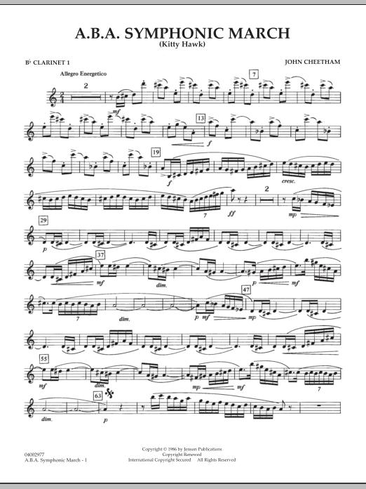 A.B.A. Symphonic March (Kitty Hawk) - Bb Clarinet 1 (Concert Band)