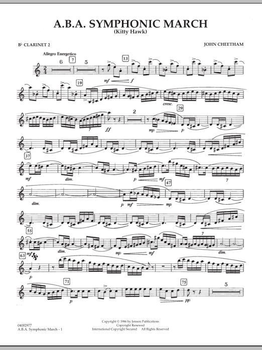 A.B.A. Symphonic March (Kitty Hawk) - Bb Clarinet 2 (Concert Band)