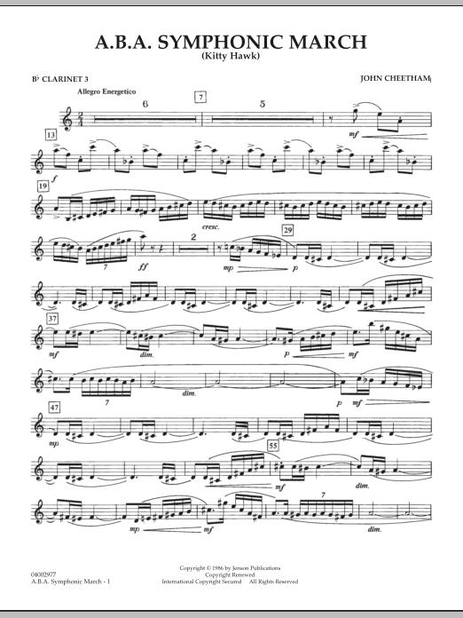 A.B.A. Symphonic March (Kitty Hawk) - Bb Clarinet 3 (Concert Band)