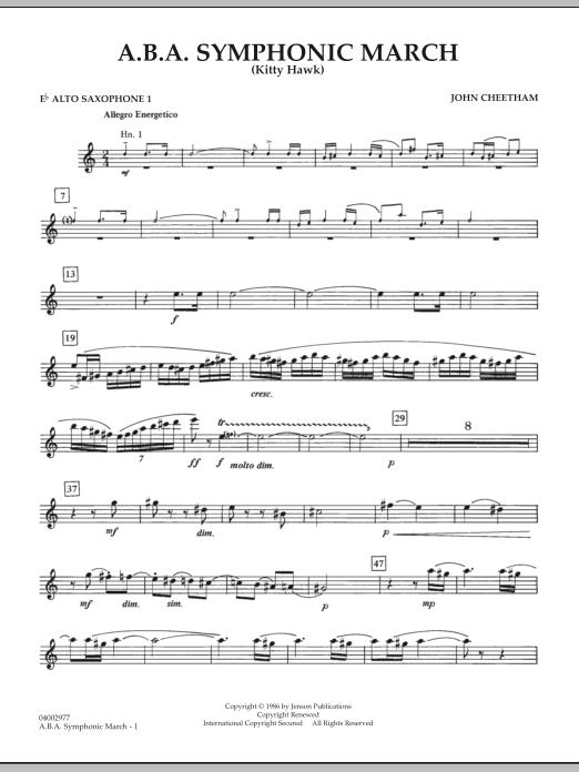A.B.A. Symphonic March (Kitty Hawk) - Eb Alto Saxophone 1 (Concert Band)