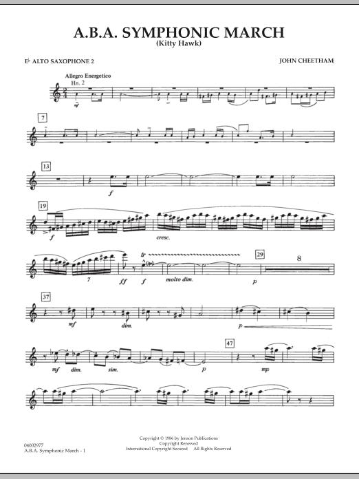 A.B.A. Symphonic March (Kitty Hawk) - Eb Alto Saxophone 2 (Concert Band)