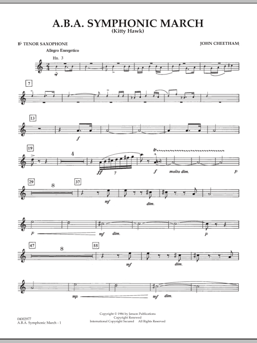 A.B.A. Symphonic March (Kitty Hawk) - Bb Tenor Saxophone (Concert Band)